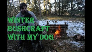 Winter Bushcraft With My Dog - Burgers, Lean-To, Axe Sharpening, Grill Rest Setup