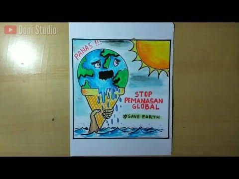 Cara Membuat Poster Bumi Stop Global Warming Youtube