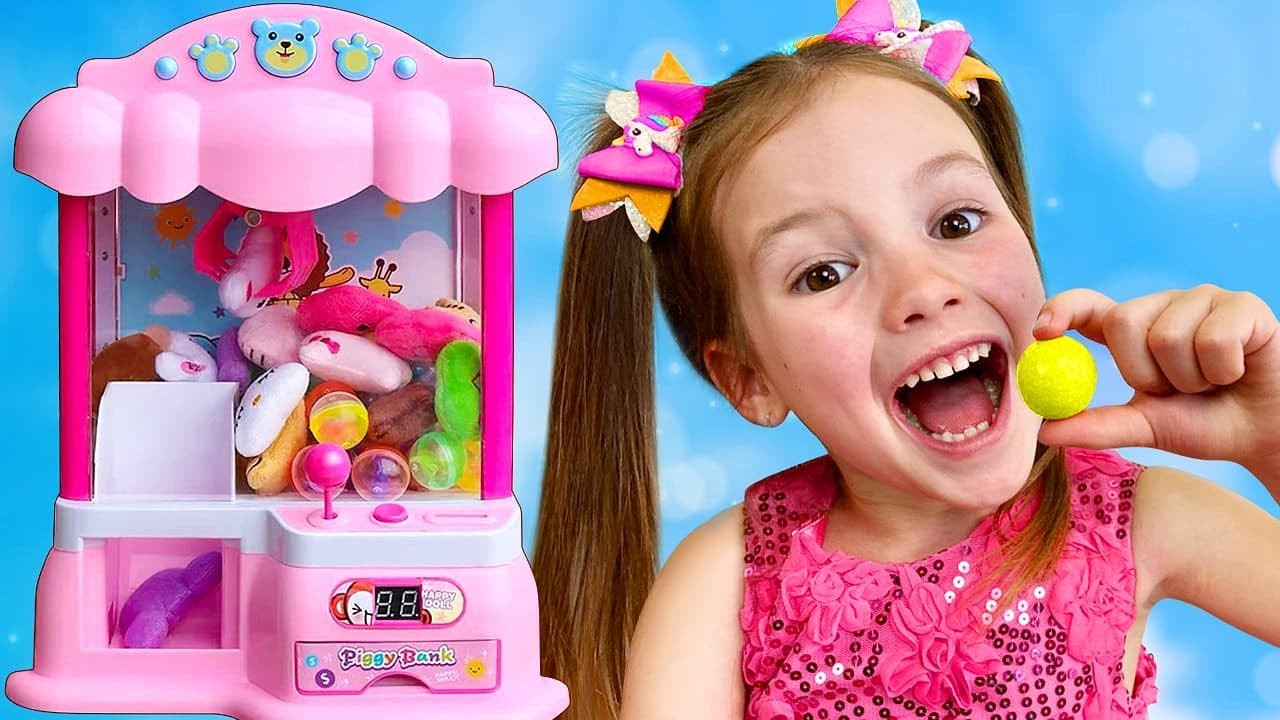 Sasha and Dima Plays with Harmful Sweets  & Colorful Gumball Machine - a story for children