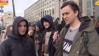 Оппозиционный журналист эпично лоханулся задав вопрос молодым людям на митинге на Охотке