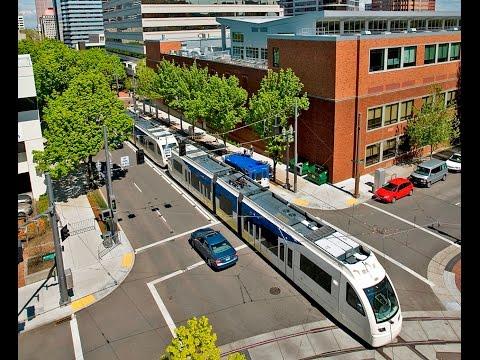 Portland Oregon USA Light Rail Airport to City Line