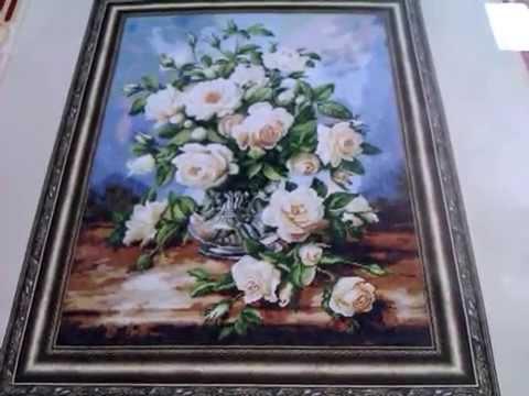 Букет из белых роз вышивка золотое руно