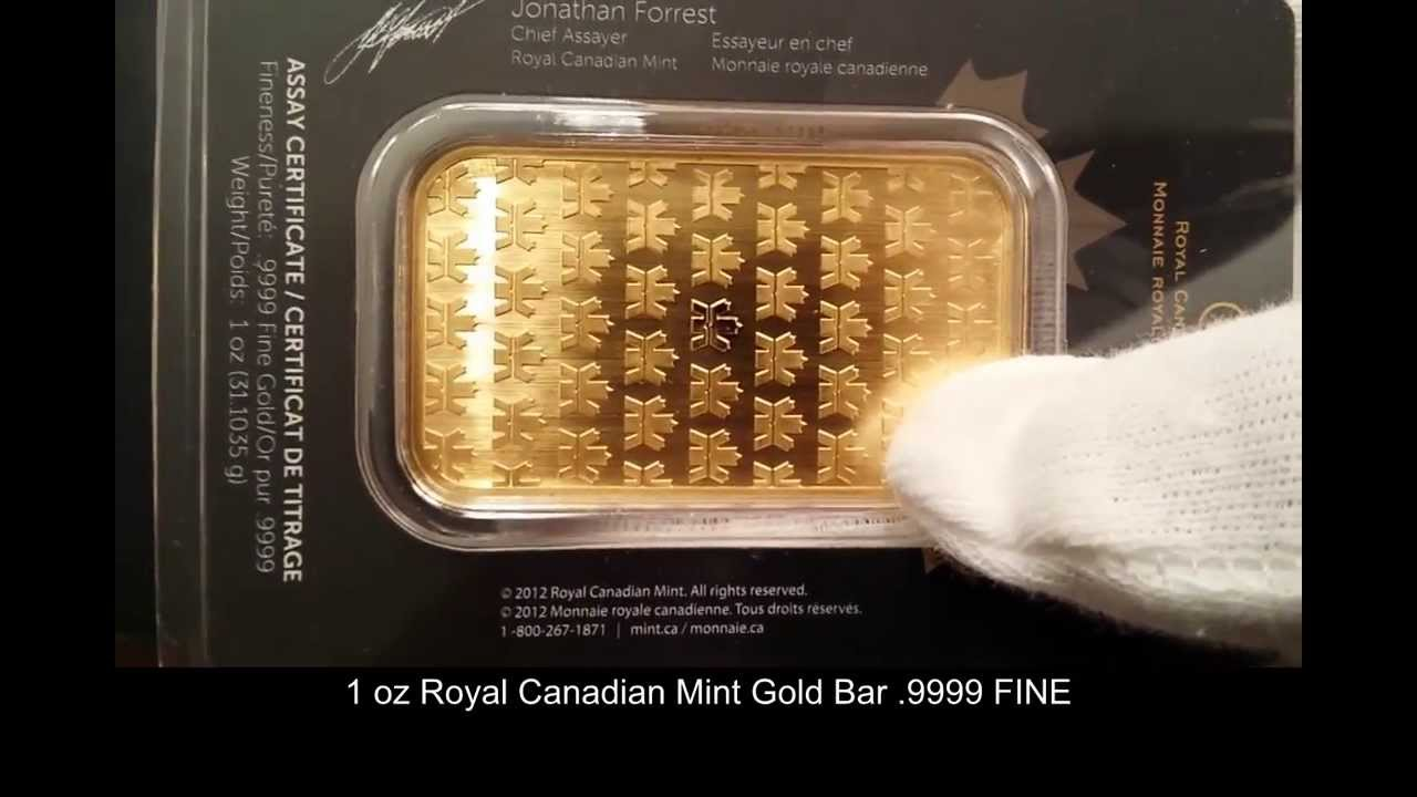 1 Oz Royal Canadian Mint Gold Bar Ottawa Gold Dealer