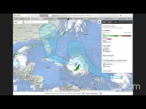 Current Path & Trajectory Points Hurricane Irma & Jose , Category 5, Live
