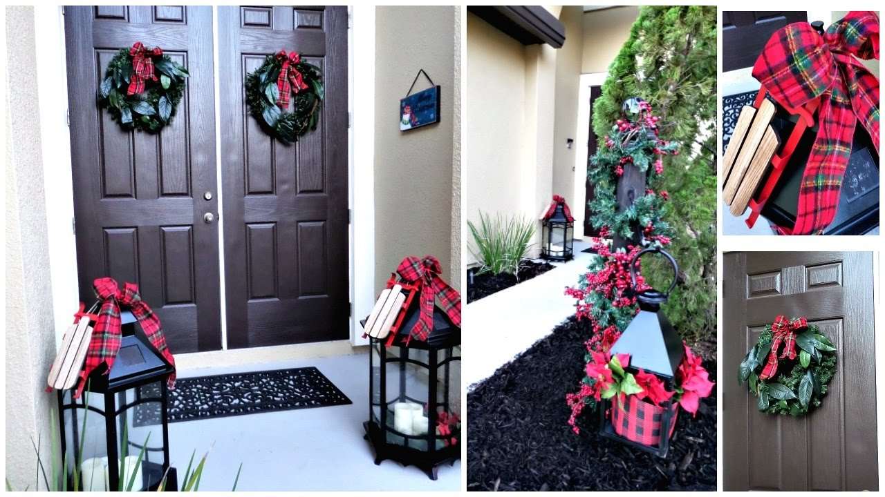 budget friendly christmas front porch entryway decor ideas
