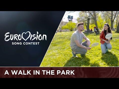 Sergey Lazarev (Russia) and Samra (Azerbaijan) go dog walking in Stockholm