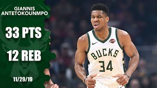 Giannis Antetokounmpo posts 33 points and 12 rebounds vs. Cavaliers | 2019-20 NBA Highlights