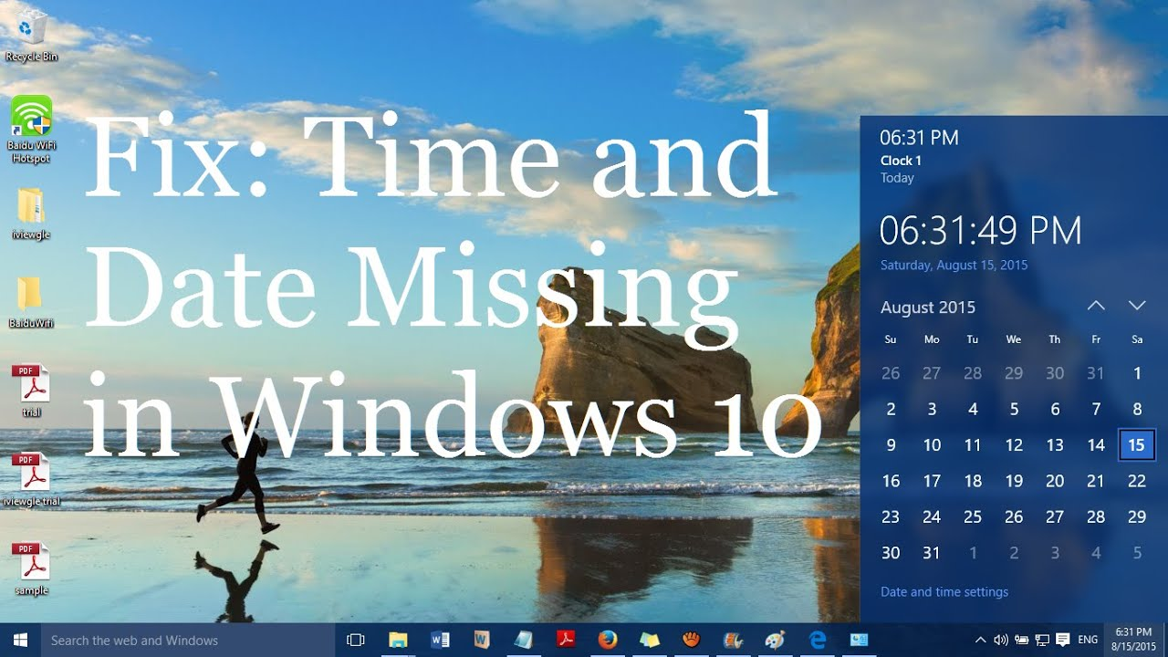 windows taskbar date missing