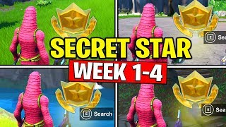 ALL SECRET BATTLE STARS Season 10 - Fortnite Week 4 to Week 1 Locations (SEASON X)