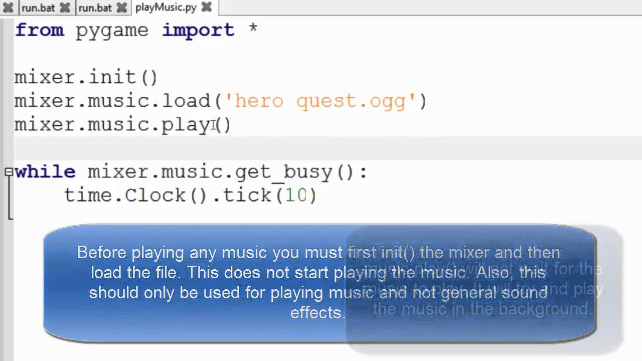 Playing a music file using pygame