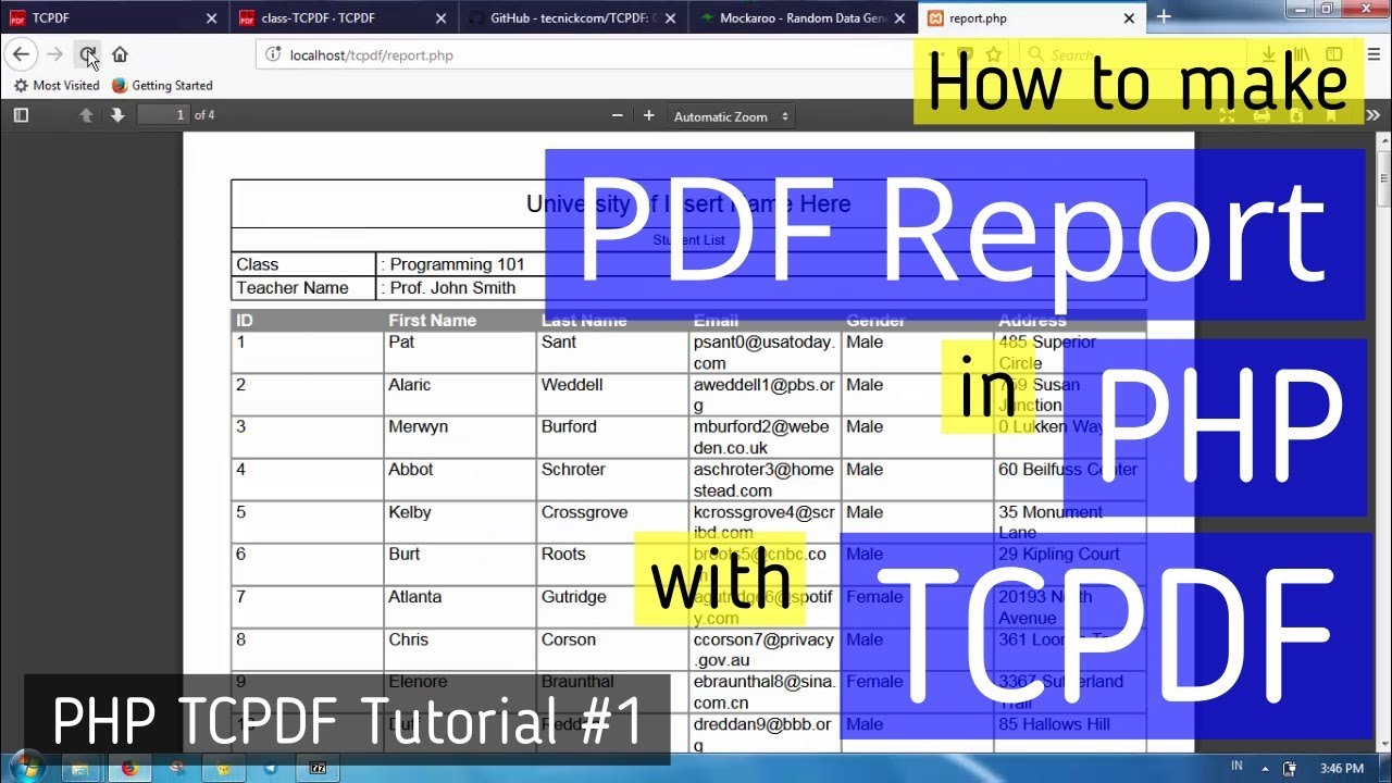 Make PDF report in PHP with TCPDF | TCPDF Tutorial #1