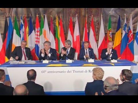 #EU60 Interventi di Gentiloni, Tajani, Muscat, Tusk, Juncker e firma Dichiarazione di Roma