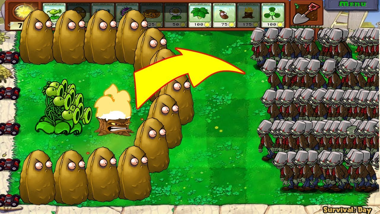 Plants Vs Zombies 1 Threepeater Vs 9999 Giga Gagantuar Youtube