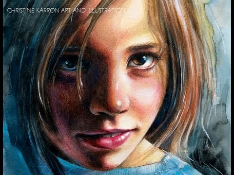 watercolor-and-colored-pencils-portrait-speed-painting-by-ch.-karron