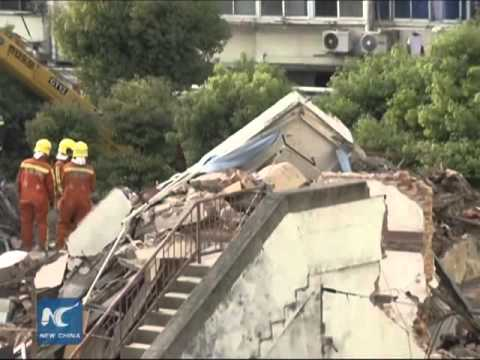 Three-storey building collapses in Shanghai, rescue underway