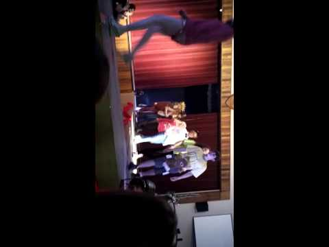 Monica on stage, Beaumont Primary fashion show finished