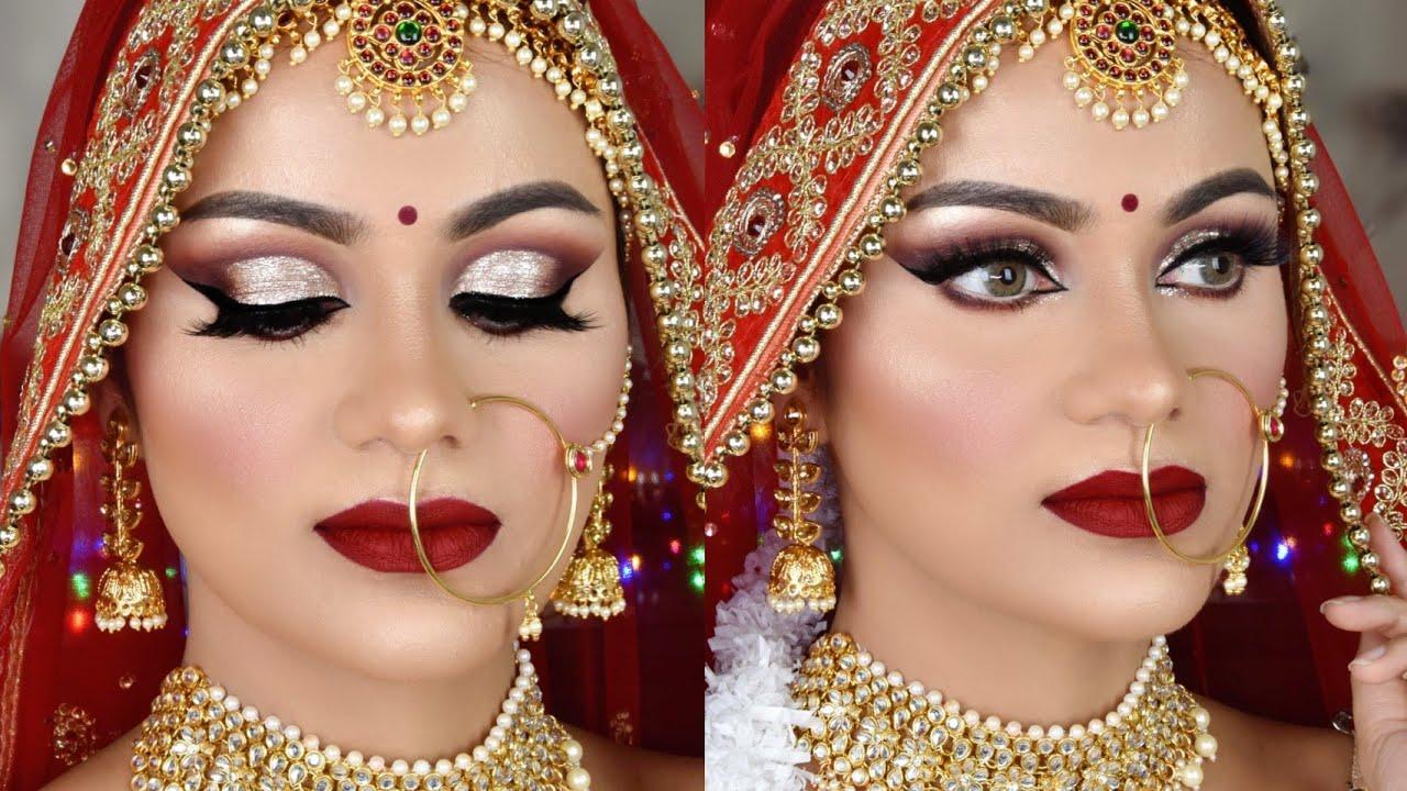 Download Summer Long Lasting INDIAN BRIDAL Makeup Tutorial Liquid Glitter eyes Deep red Lipstick
