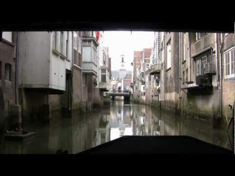 Canals of Dordrecht Holland by boat HD