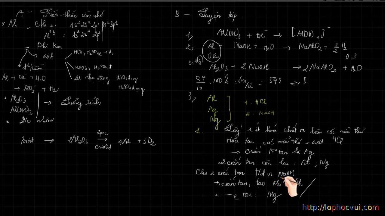 Hóa học 12   Bài 35   Luyện tập Nhôm và hợp chất của nhôm