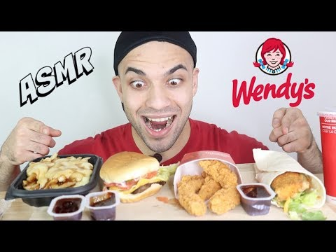 ASMR Wendy's Cheese Burger + Poutine + SPICY Chicken Tenders + Chicken Wrap. (Crunchy Eating Sounds)