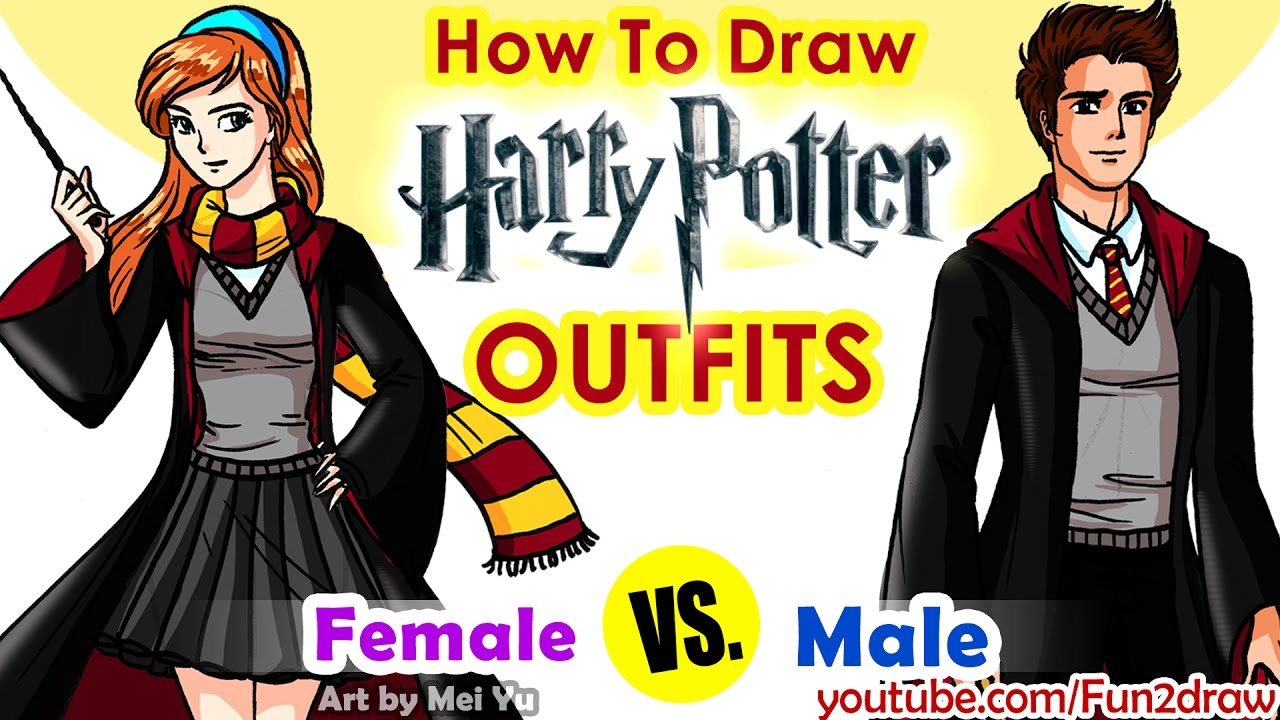 How To Draw Harry Potter Hogwarts Outfits Girl And Boy Youtube