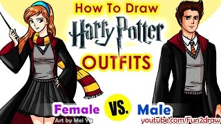 How to Draw Harry Potter Hogwarts Outfits
