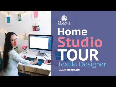 My textile design home studio tour and top 5 tools for digital textile design home studio setup.