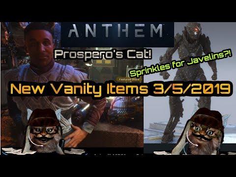 Anthem New Vanity Items 3/05/2019