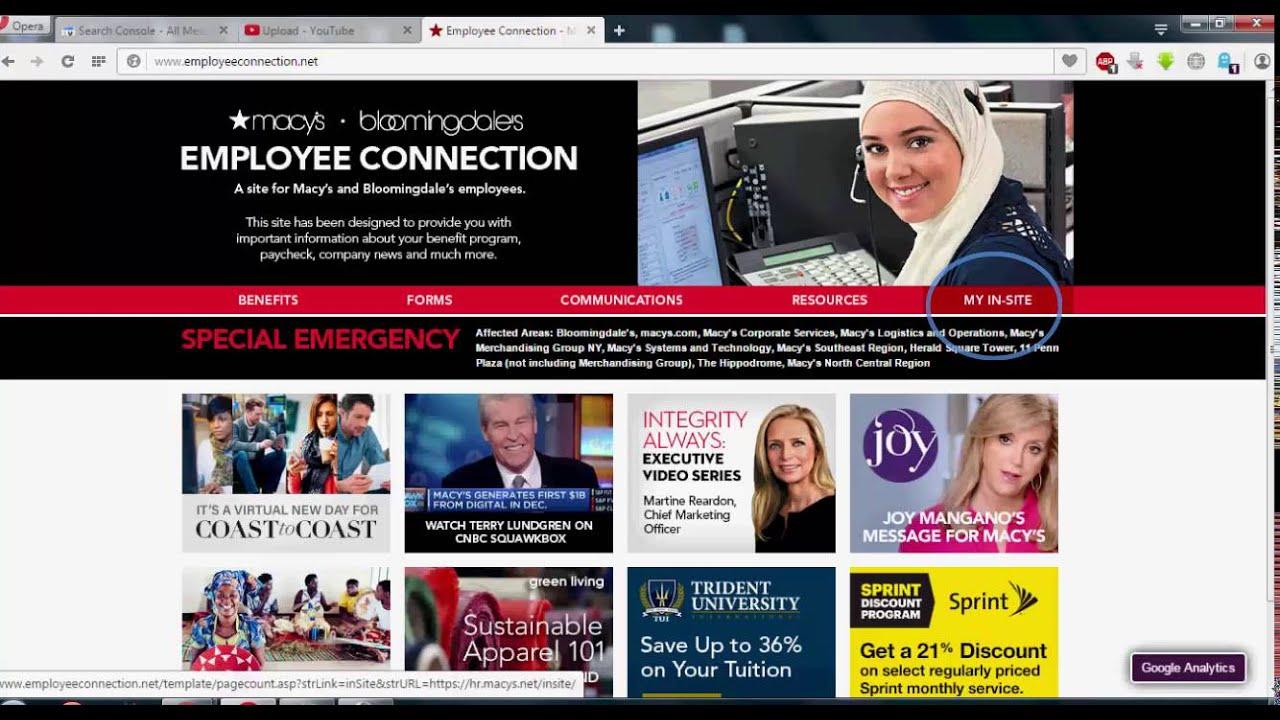 Learn Using Www Employeeconnection Net Macy S Insite Guide