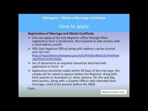 Telangana - Obtain A Marriage Certificate