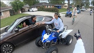 Seeing our family while street riding dirt bikes