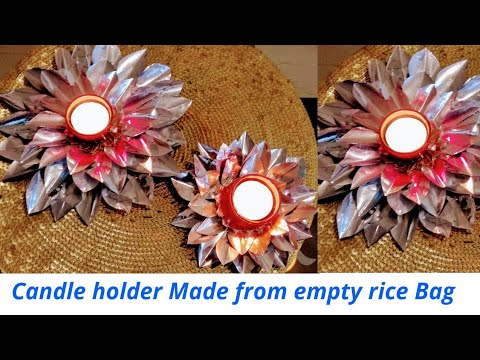 best-way-to-reuse-empty-rice-bag---diy-flower-candle-holder