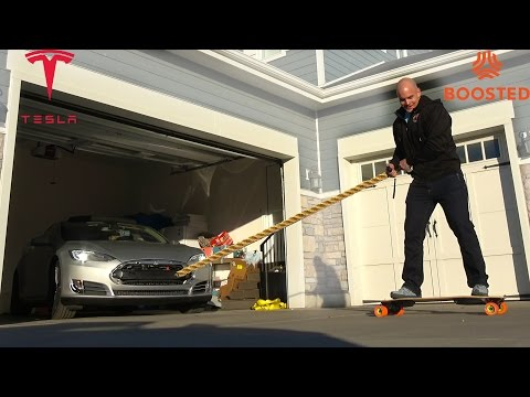 Can a Boosted Board PULL A TESLA?!