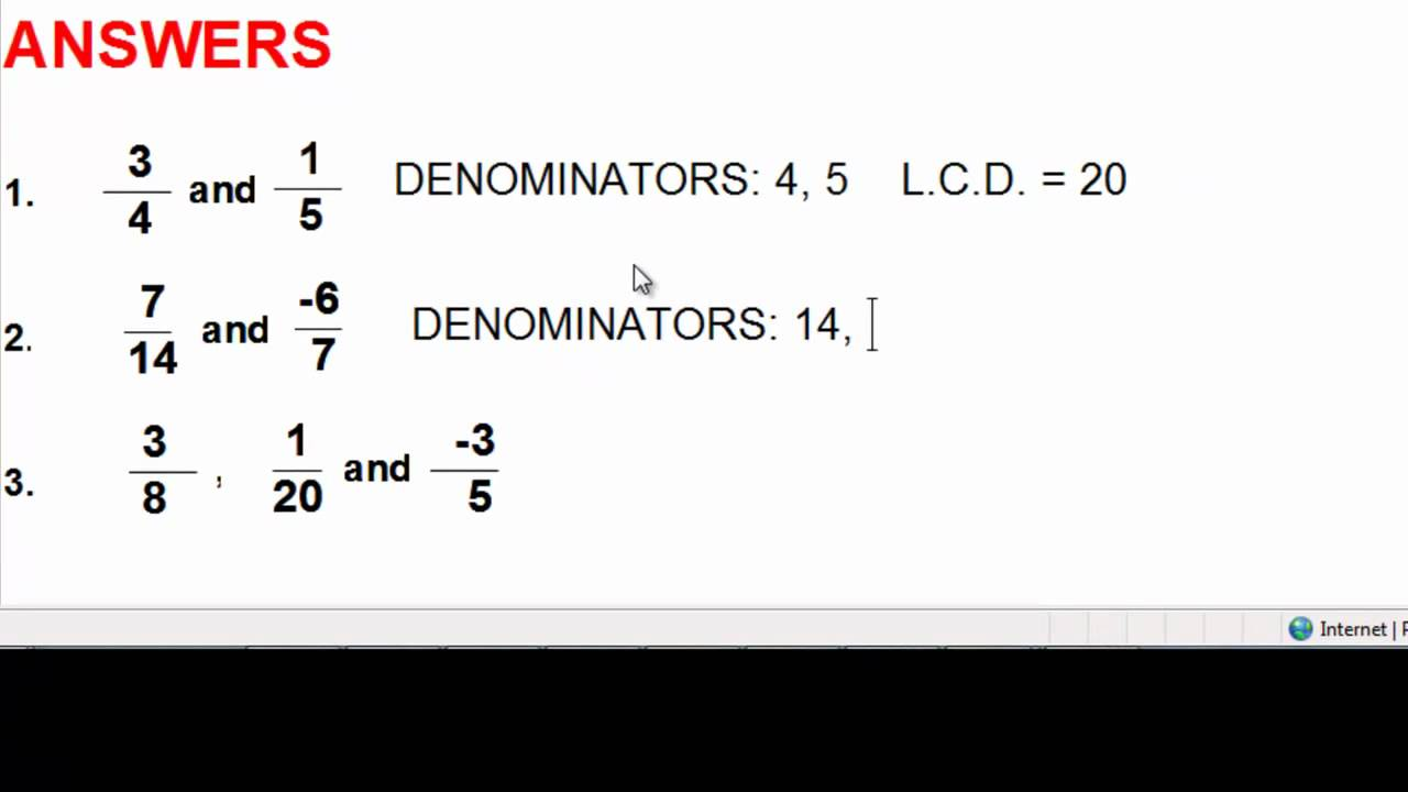 Fractions Adding And Subtracting  Part 1  Leastmon Denominator