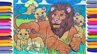 Lion Colouring Page! Come and learn colours with our cool lion and babies coloring page!!!!!!!