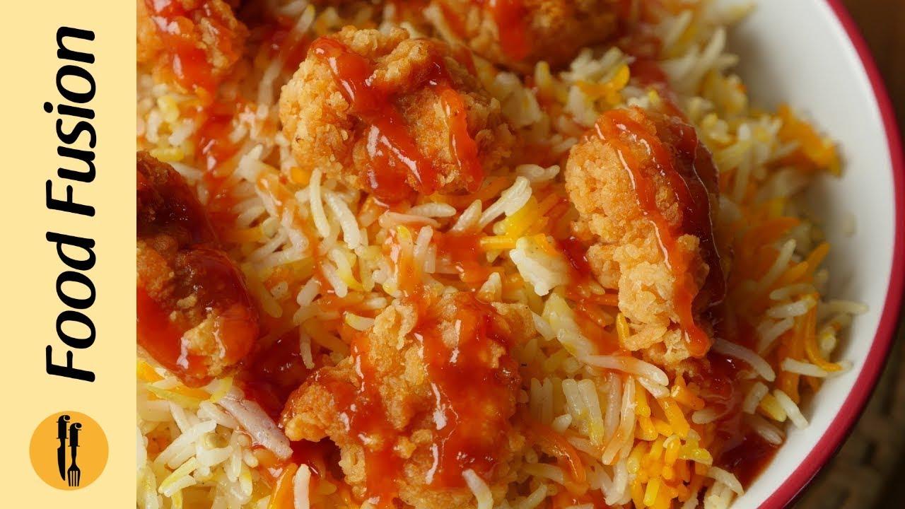 Arabian Rice With Popcorn ChickenKFC Style Recipe