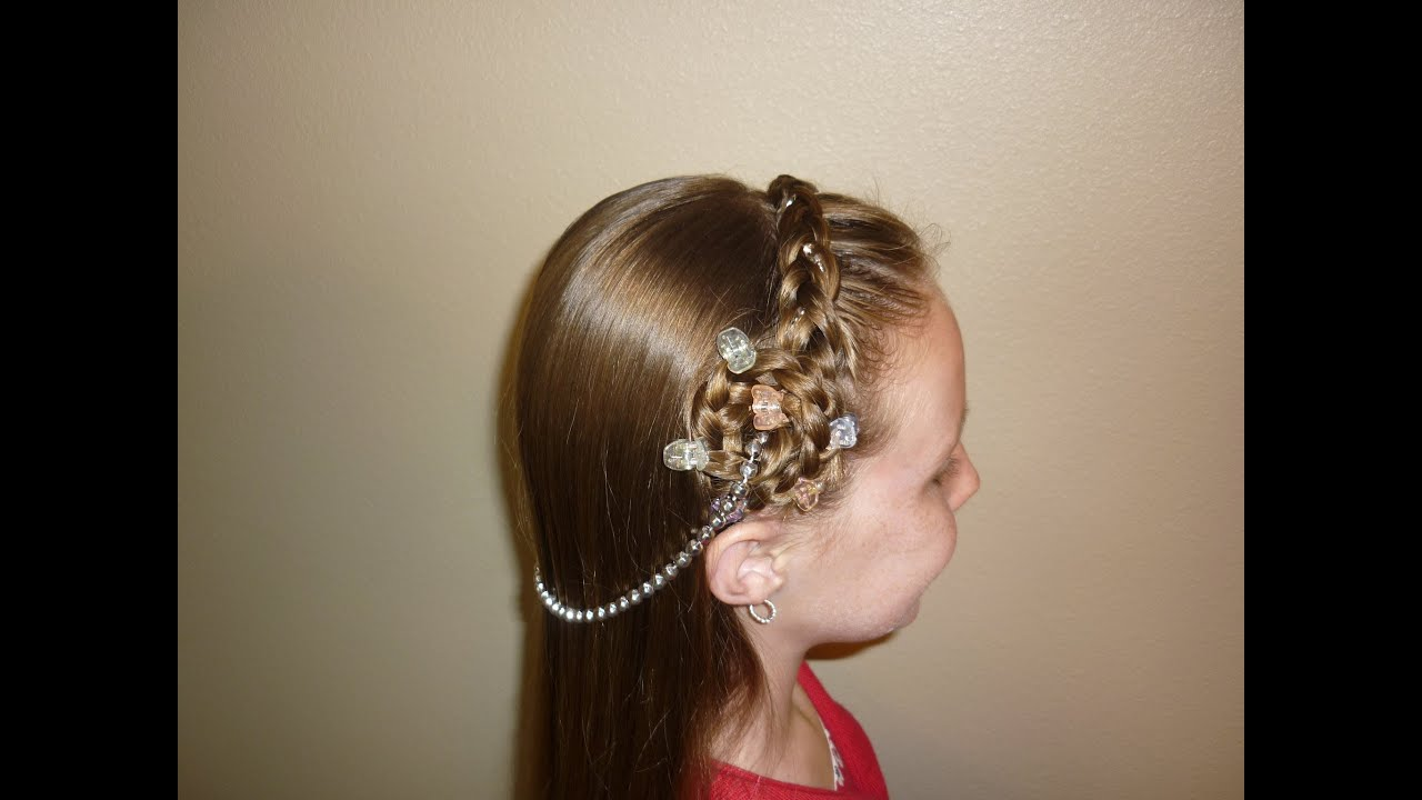 princess hairstyles, braided headband with jewels - youtube