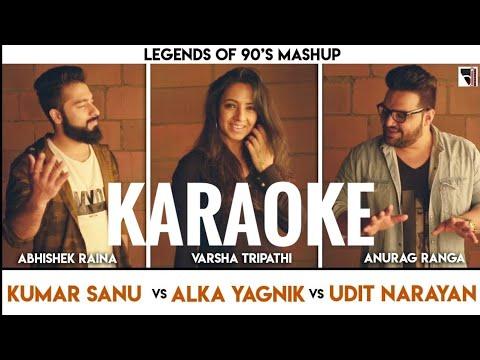 Legends of 90's Bollywood Mashup Karaoke With Lyrics || Kumar Sanu, Alka, Udit Narayan | BasserMusic