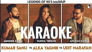 Legends of 90's Bollywood Mashup Karaoke With Lyrics || Kumar Sanu, Alka, Udit Narayan | BasserMusic