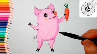Как нарисовать поросенка Чуню карандашом - Рисование и раскраска для детей