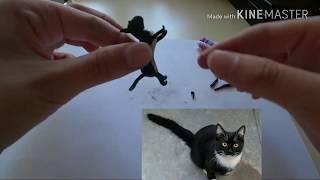 Черный кот из полимерной глины🐱🐾