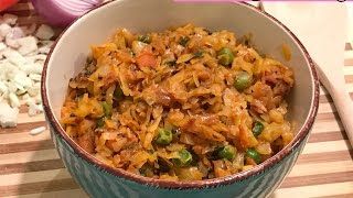 Spicy cabbage curry   Cabbage tomato curry - Indian curry for Rice, chapati, puri, pulka