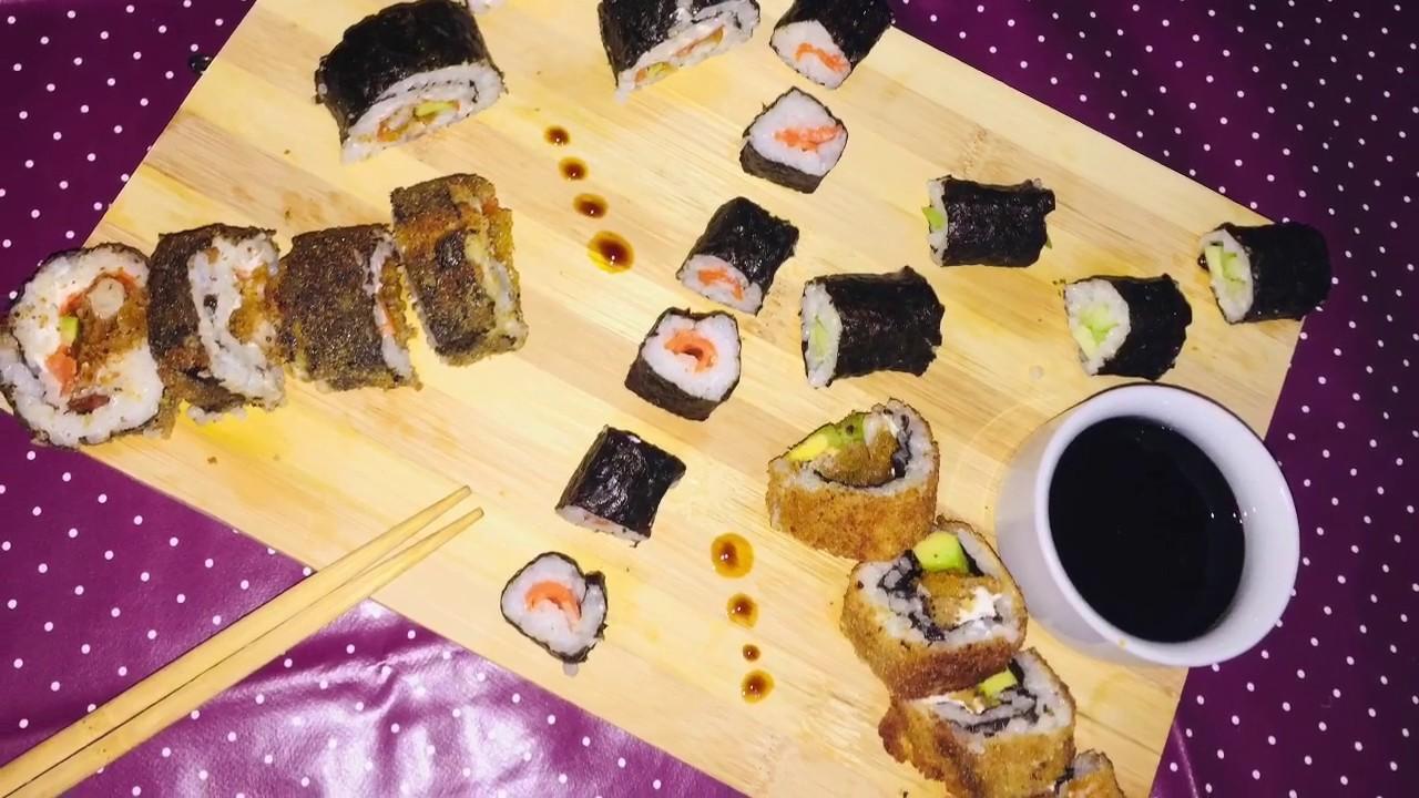 طريقة تحضير سوشي بالمنزل😋recette sushi fait maison 🍣 - YouTube