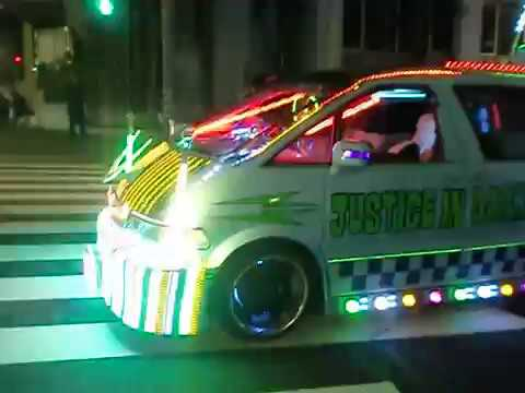 Tokyo Shibuya Halloween on 31st with cars having colorful lights. 2017, Japan.