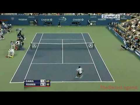 Federer Hits Another Shot Between The Legs - Us Open 2010