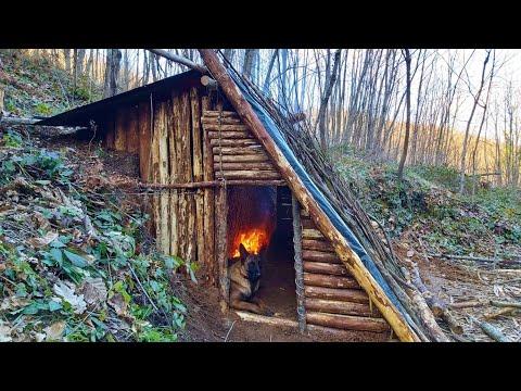 Bushcraft Skills - Build Survival Tiny House - Winter Camping - Off Grid Shelter - Diy - Asmr