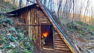 Bushcraft Skills - Buİld Survival Tiny House - Winter Camping - Off Grid Shelter - Diy - Asmr