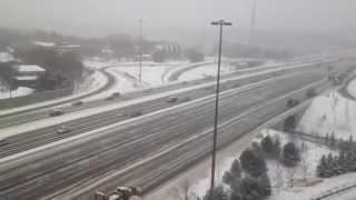 snowplows clearing highway 401 in toronto