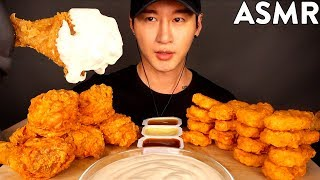 ASMR SPICY FRIED CHICKEN & CHICKEN NUGGETS with ALFREDO SAUCE MUKBANG (No Talking) EATING SOUNDS