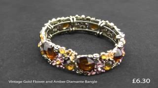 Vintage Gold Flower and Amber Diamante Bangle Thumbnail
